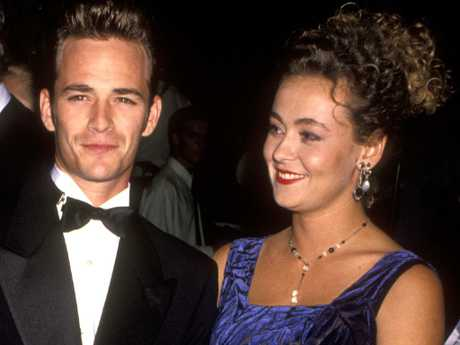 Luke Perry and Minnie Sharp at the Carousel of Hope Ball at the Beverly Hilton in 1992. Picture: Ron Galella/WireImage