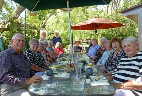 Residents and friends of Glenfield Grange Retirement Village Middle Ridge Toowoomba enjoyed morning tea together recently at Kingfisher Cafe. Seated: Don Purcell, Joy Purcell, Patricia Grassie, Helen Chambers, Glenda Taylor, June Adams, Sue McEvoy, Daphne McCallum, Shirley Cormack, Betty Sanderson, Margaret Corbett, June Kearsley. Standing: Denise Beauchamp and Hilary Darmody.