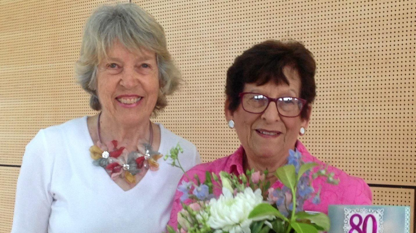 BIRTHDAY CELEBRATIONS: Fay Suley received flowers from Toowoomba Quilters club president, Lyn Lloyd in early January.