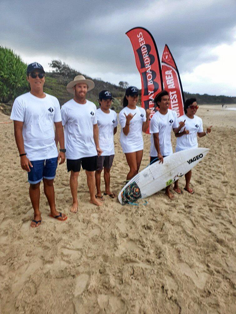 BOARDRIDERS: Linton Fafie from Next Level Surf Coaching brought along Taiwan surfers to compete in the Byron Bay Boardriders.