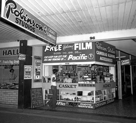 Robinson Studios Camera Shop and Casket Agency in Currie St, Nambour, September 1976.