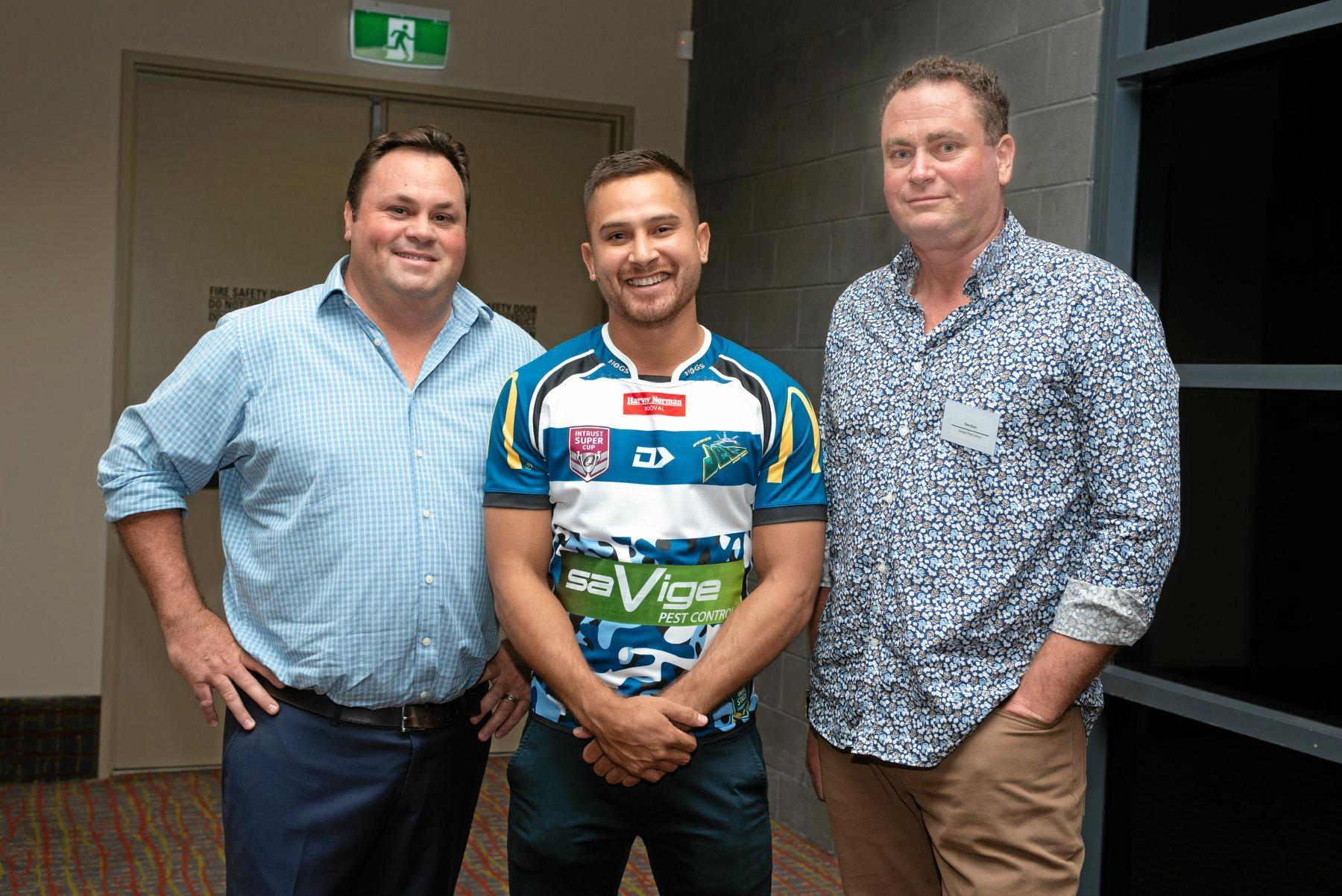 Bill Savige and Des Ryan with Marmin Barba at the Ipswich Jets' season launch.
