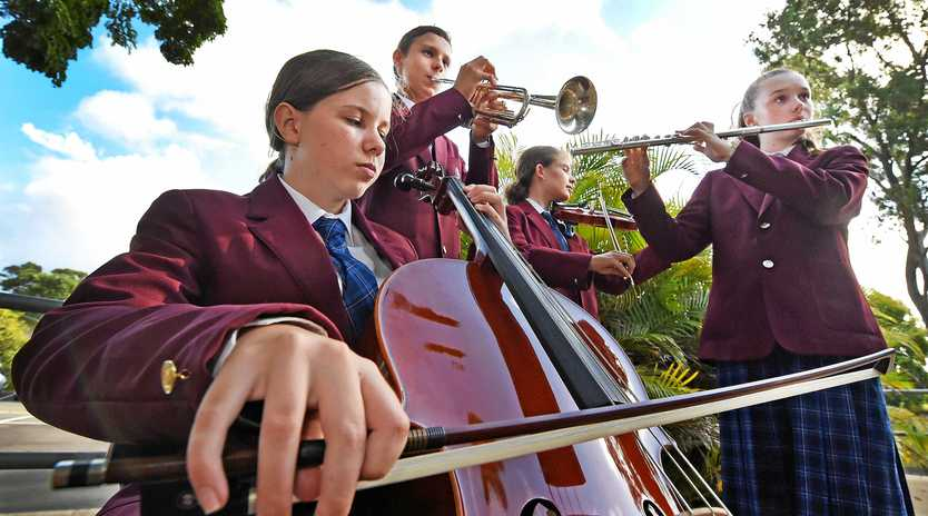 ENSEMBLE MASTERS: FCAC music students Zoe Alloway, Andries Du Plooy, Mia Van Teijlingen and Charlotte Hilton are among the dozens of students heading off to the State Honours Ensemble Program Capricornia program this weekend.