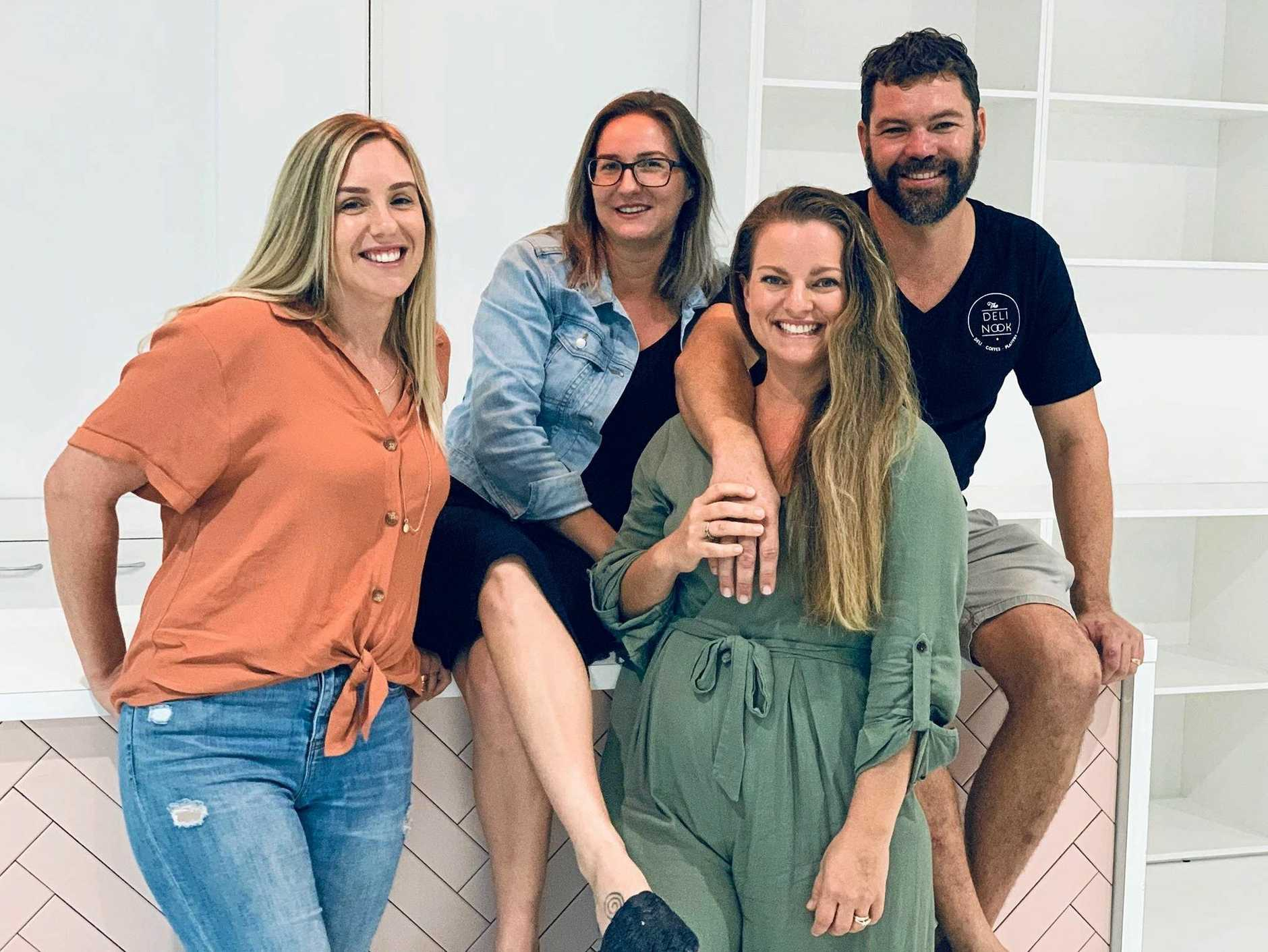 Gypsy and the Bowerbird owners Stephanie Hain (left) and Claire Hammill (second from left) with owners of The Deli Nook Patrice and Simon Zarzecki (right).