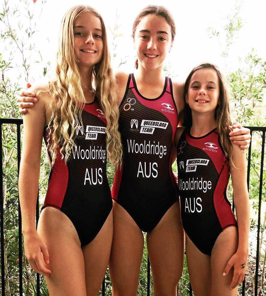 Ella, Erin and Mia Wooldridge will make their debut at the Mooloolaba Triathlon.