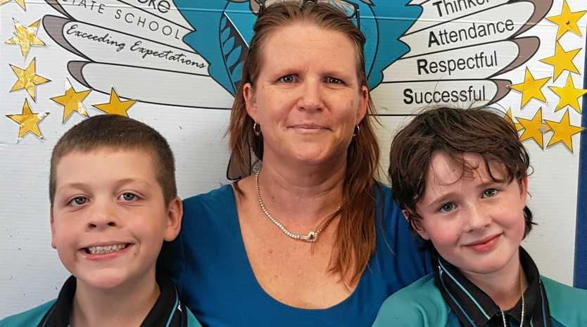 Ryley, Annette Davie and Jamiee-Leigh from Fernbrooke State School will be taking part in the World's Greatest Shave.
