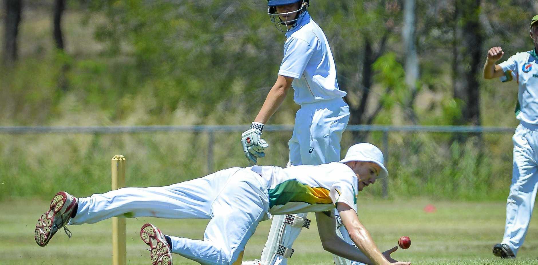 BITS Cricket Club's Jacob Harvey drops The Glen's Greg Purdon.