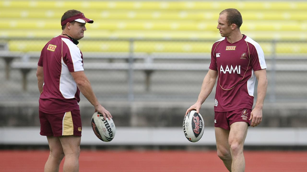 Kevin Walters and Darren Lockyer during Queensland State of Origin training.