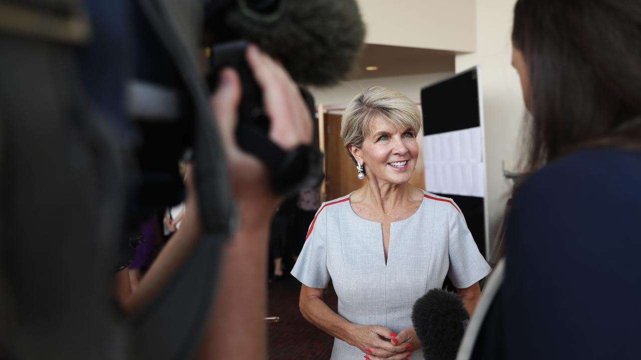 Federal MP and former foreign minister Julie Bishop speaking at the Frankly Women Leadership Forum for International Women's Day Picture: LUKE BOWDEN