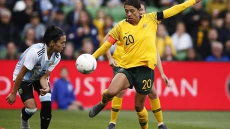 Matildas captain Sam Kerr in action against Argentina on Wednesday night