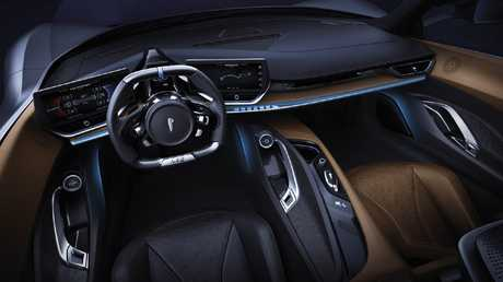 The Pininfarina has a futuristic cockpit.