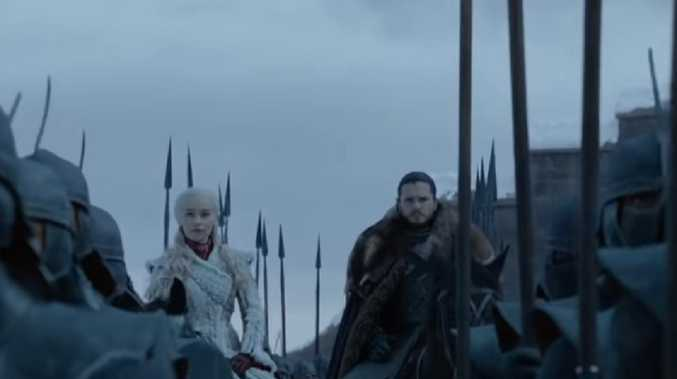 Daenarys and Jon Snow look serious as they head up the army in the new trailer.
