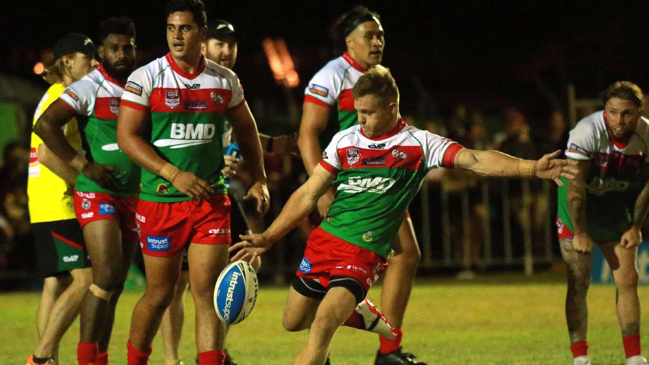 Sam Scarlett kicks during Wynnum Manly's pre-season trial against the Broncos. Picture: AAP Image