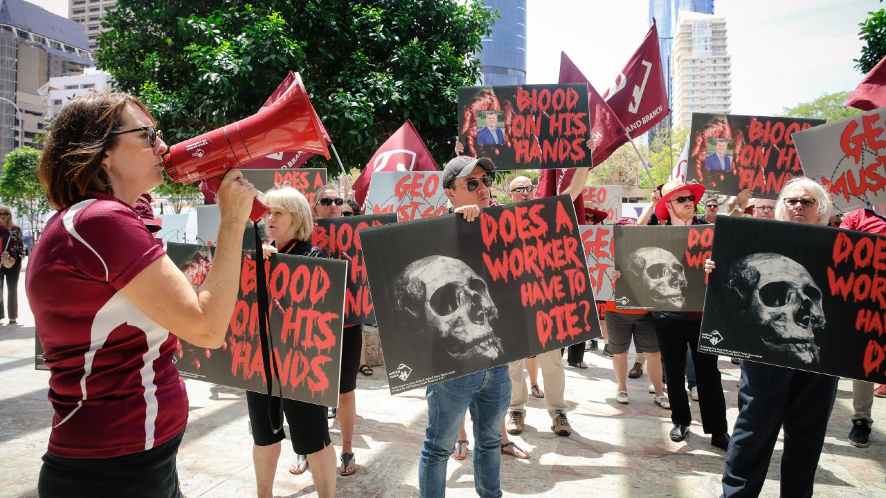 Protesters in the Brisbane CBD today. Picture: Matthew Plant