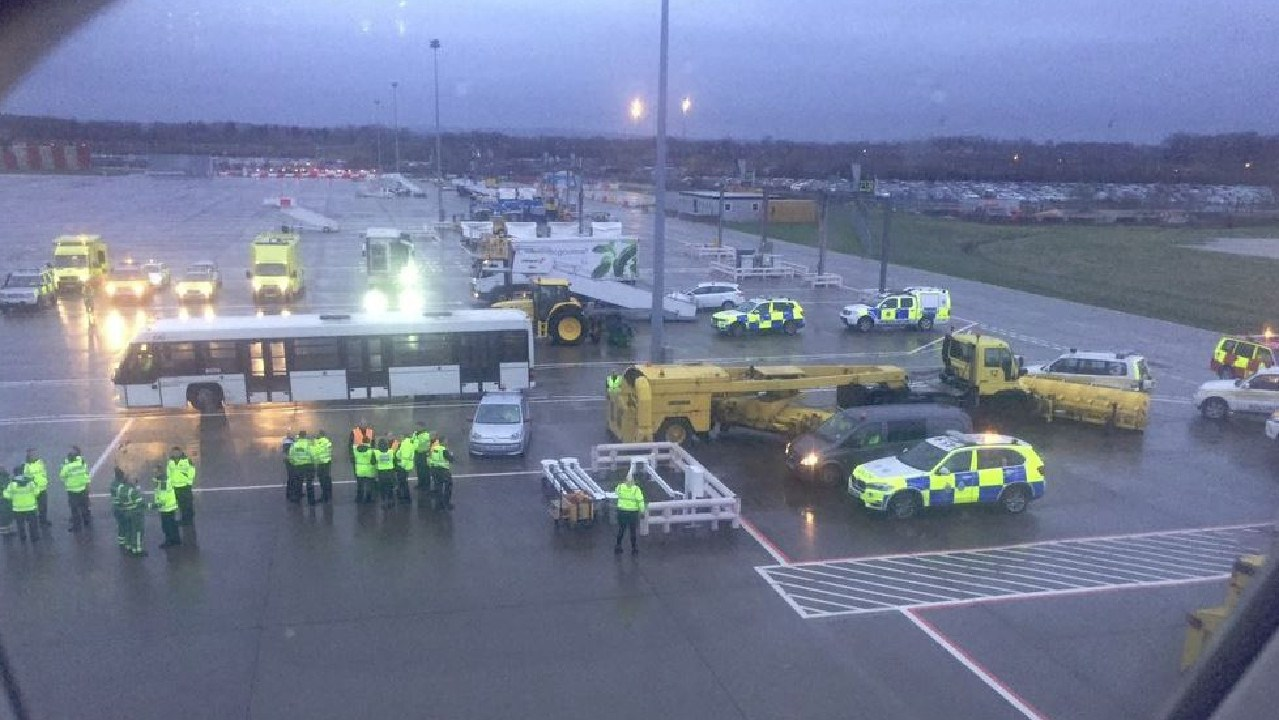 A view out of the scene at Gatwick Airport where 150 passengers were left quarantined on a Virgin Atlantic plane. Picture: Twitter
