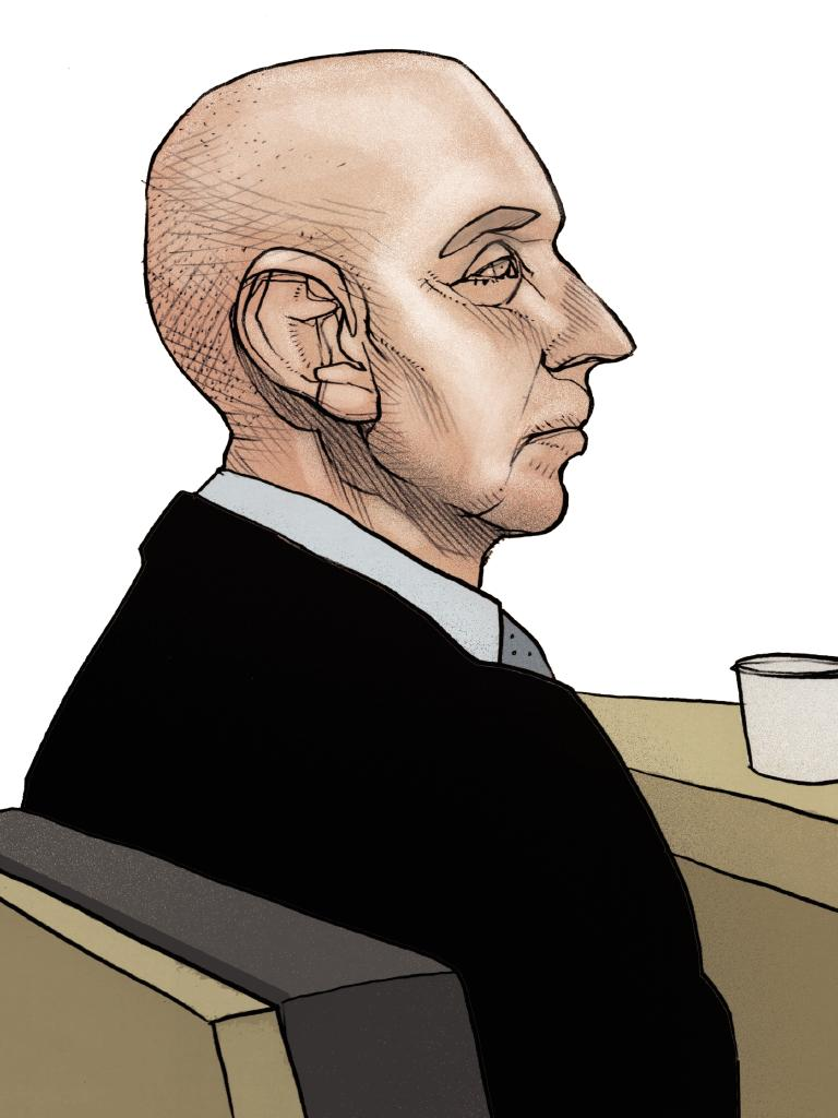 A court sketch of Edmund Ian Riggs. Illustration: Brett Lethbridge