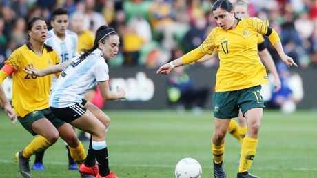 Alex Chidiac in action for the Matildas against Argentina