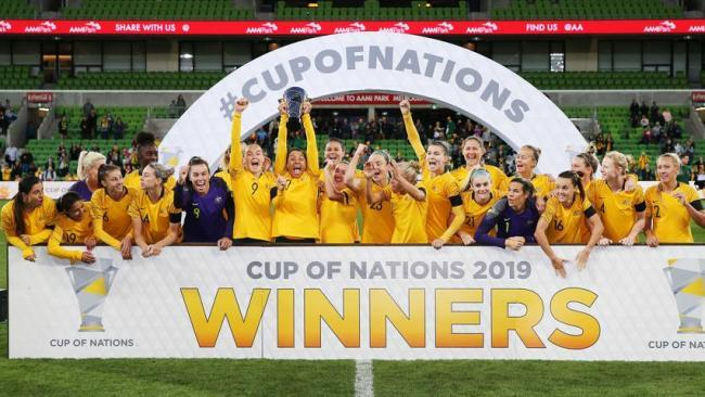 The Matildas celebrate their Cup of Nations win