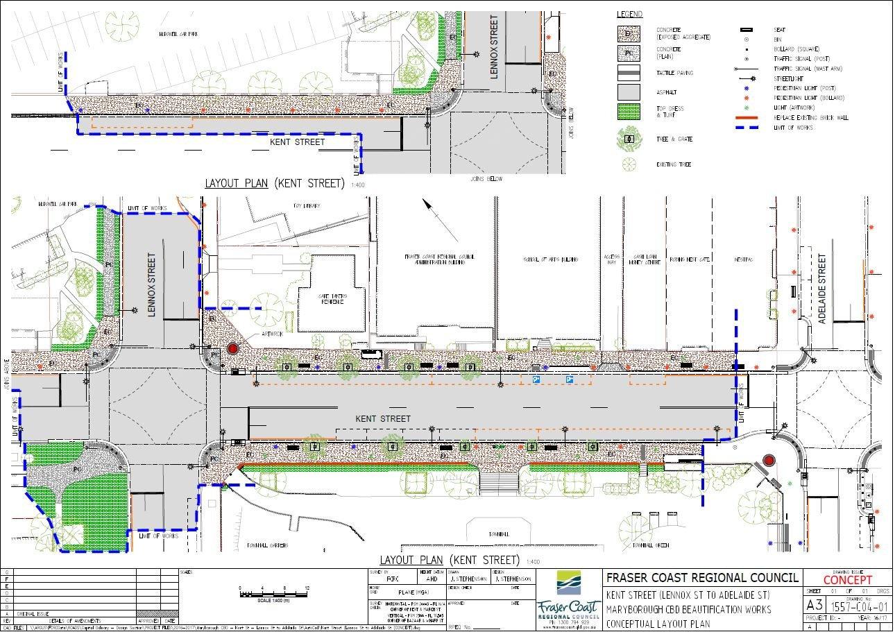 Maryborough CBD Revitalisation Project concept plan of Kent St.