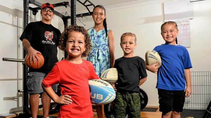 Dad Tyson Elisaia (far left) has four children competing in sporting events in Ipswich. (from left) Moana, Tejsha, Mateo and  Muanu Elisaia.
