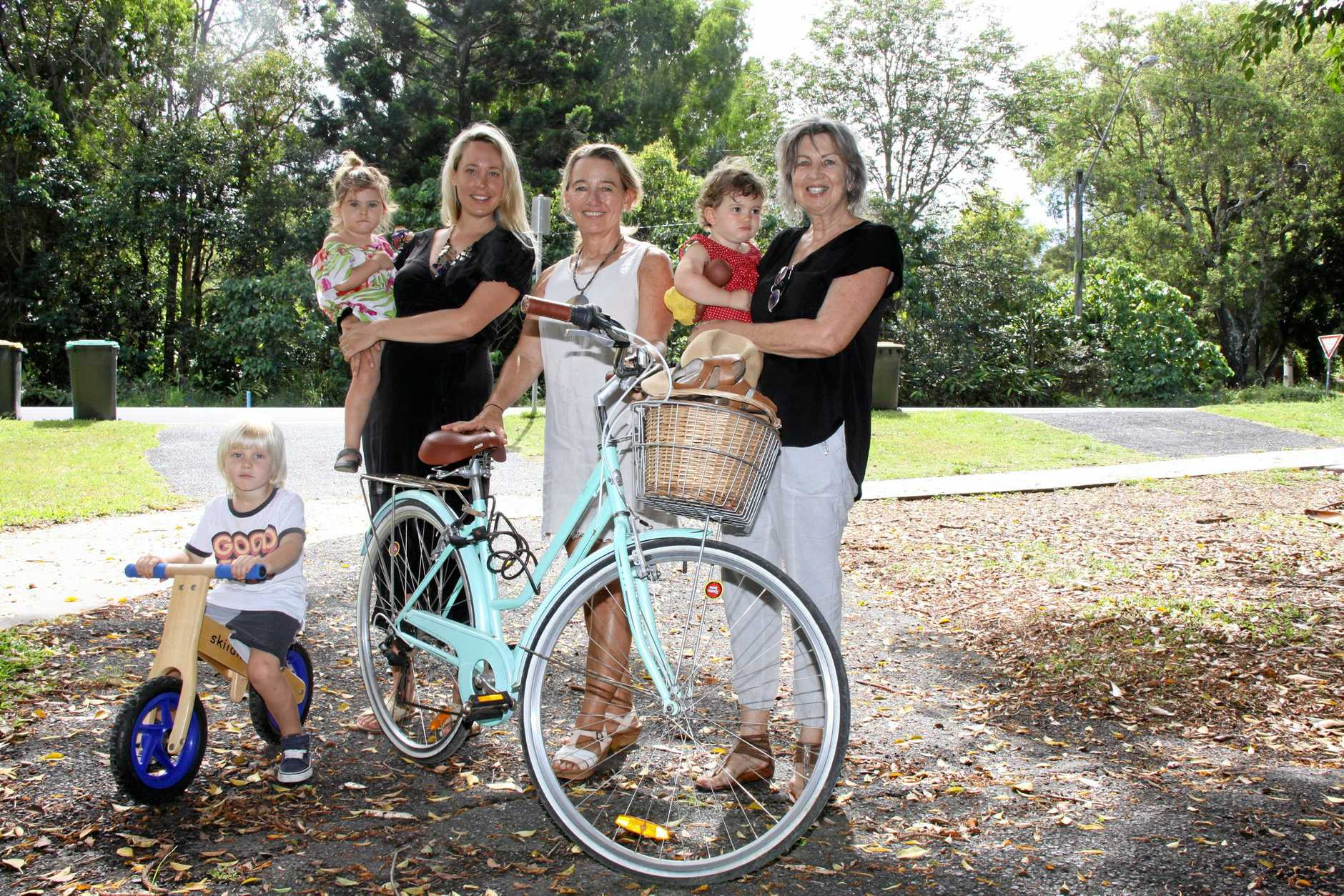 CYCLE OF LIFE: A new cyclepath from Byron Bay to Suffolk Park will be named 'The Ben Donohoe Memorial Cycleway', after family and freinds made the request. L-R Jarvis Donohoe 6, Angie Donohoe holding Nova Donohoe, 2, friend Melissa Armstong, Huxley Yeadon, 1, held by Ben's mother Yvonne Donohoe, at Byron Bay.
