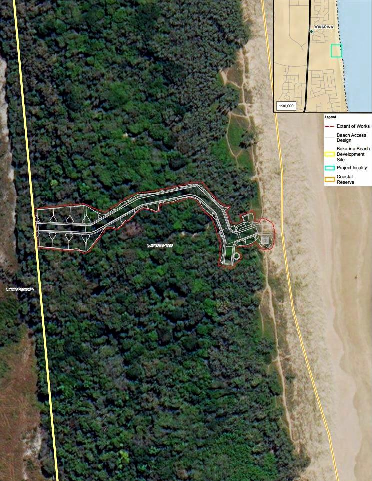 The route for a new beach access at Bokarina has been finalised.