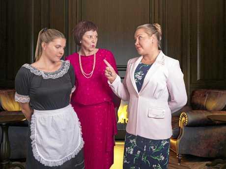 Kathy the secretary (Cherie van Dyke) has words with Nancy (Teyla Brim) and Fiona Starkweather (Janet Marshall).