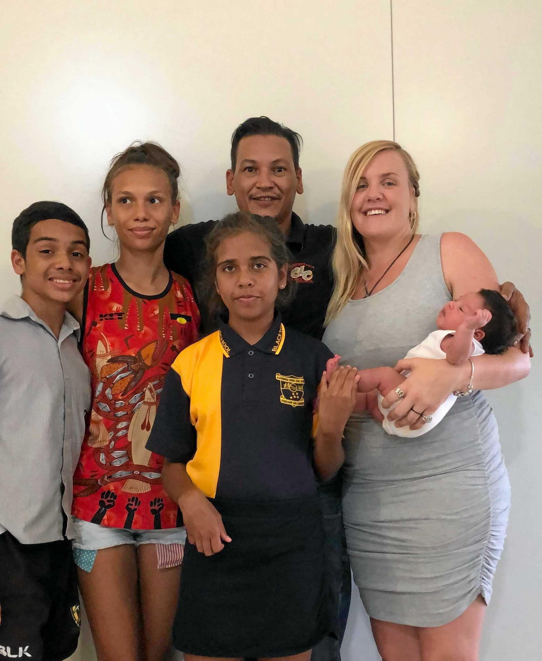 FAMILY HISTORY: Tjabadungah, 13, Yellagunjimurra, 17, dad Trinity Yanner, mum Jaymie Tennant with newborn Jeribi and Lahleejah Ngurlumirddi, 10 (front).