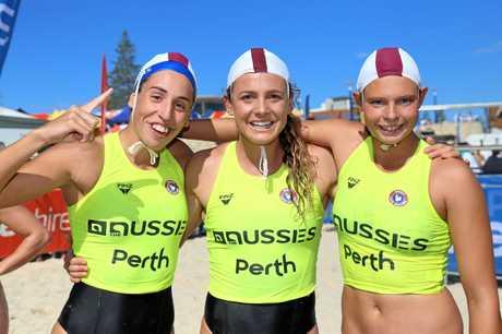 TRIUMPHANT: The Noosa Heads taplin relay team of Lana Rogers, Jordan Mercer and Electra Outram.