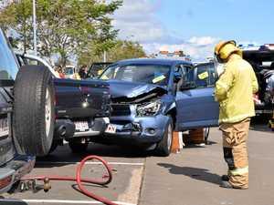 Man taken to hospital after hitting three cars