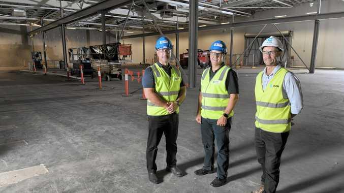 TAE Aerospace project manager Tibor Ban; TAE Aerospace CEO Andrew Sanderson; ICON project manager Angus Walker at the Bundamba site.