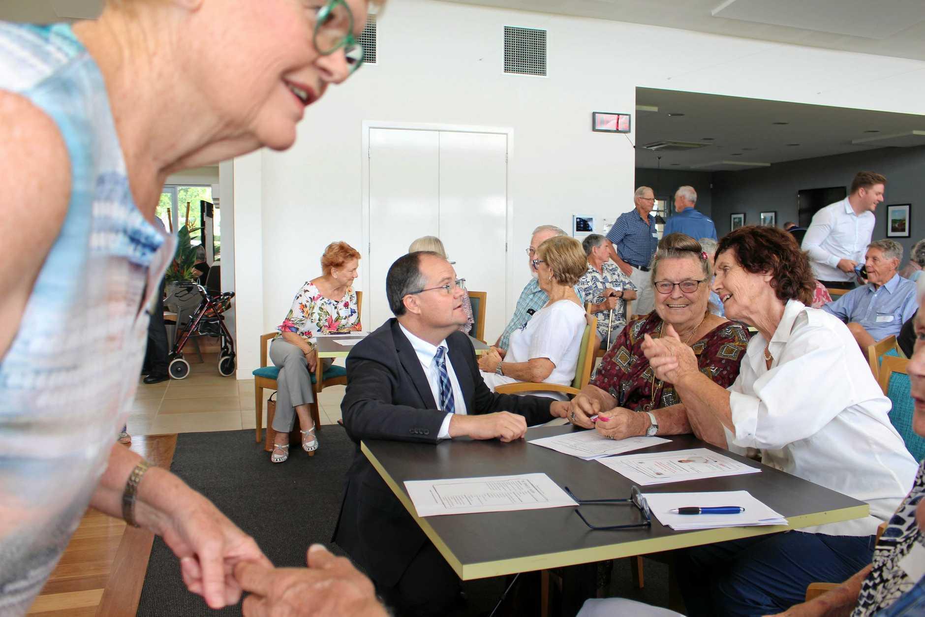 Ted O'Brien talks with attendees at his Fairfax Seniors Forum at Bli Bli.