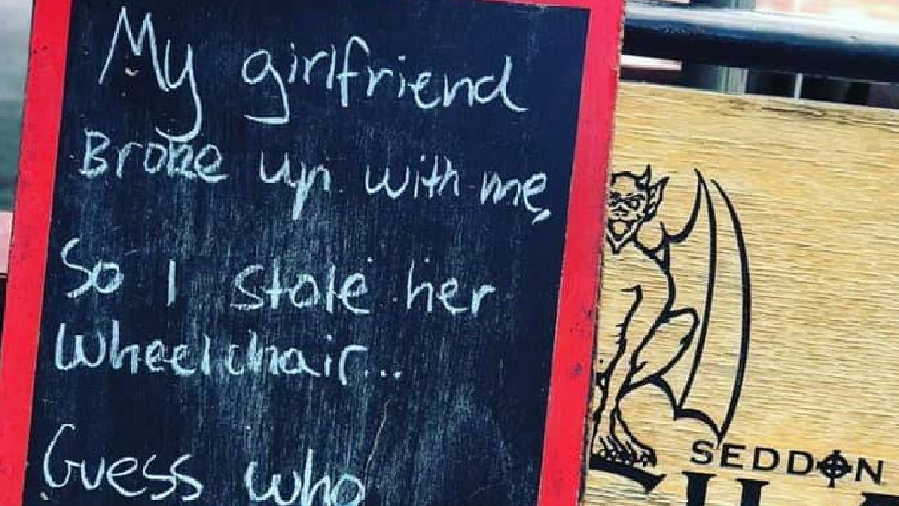 People claimed the joke made fun of domestic violence and disabled people. Picture: Seddon Deadly Sins Cafe