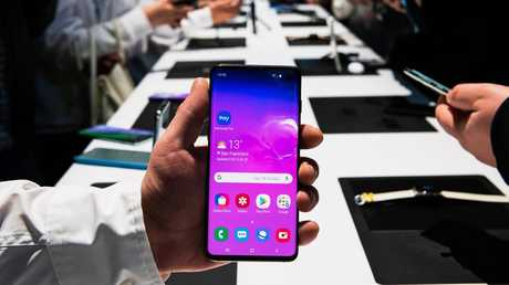 Samsung launched its Galaxy S10+ smartphones in San Francisco before their March 2019 debut in Australia. Picture: Jennifer Dudley-Nicholson/News Corp Australia