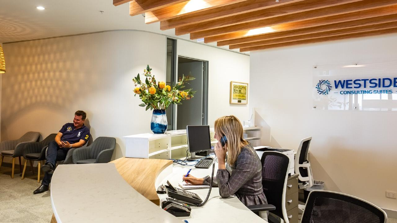 The reception area at the new Westside Private Hospital, Queensland's first hospital and hotel in the one building.