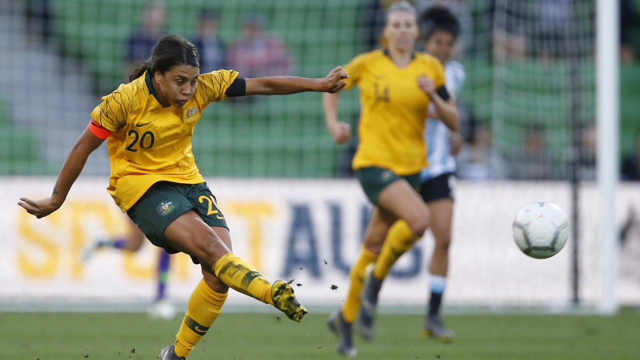 Sam Kerr of Australia during the Cup of Nations football match between Australia and Argentina at AAMI Park in Melbourne on Wednesday. Picture: AAP/Daniel Pockett