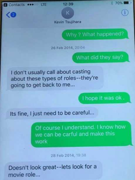 A text message exchange between Charlotte Kirk and Kevin Tsujihara in February 2014. Picture: Supplied