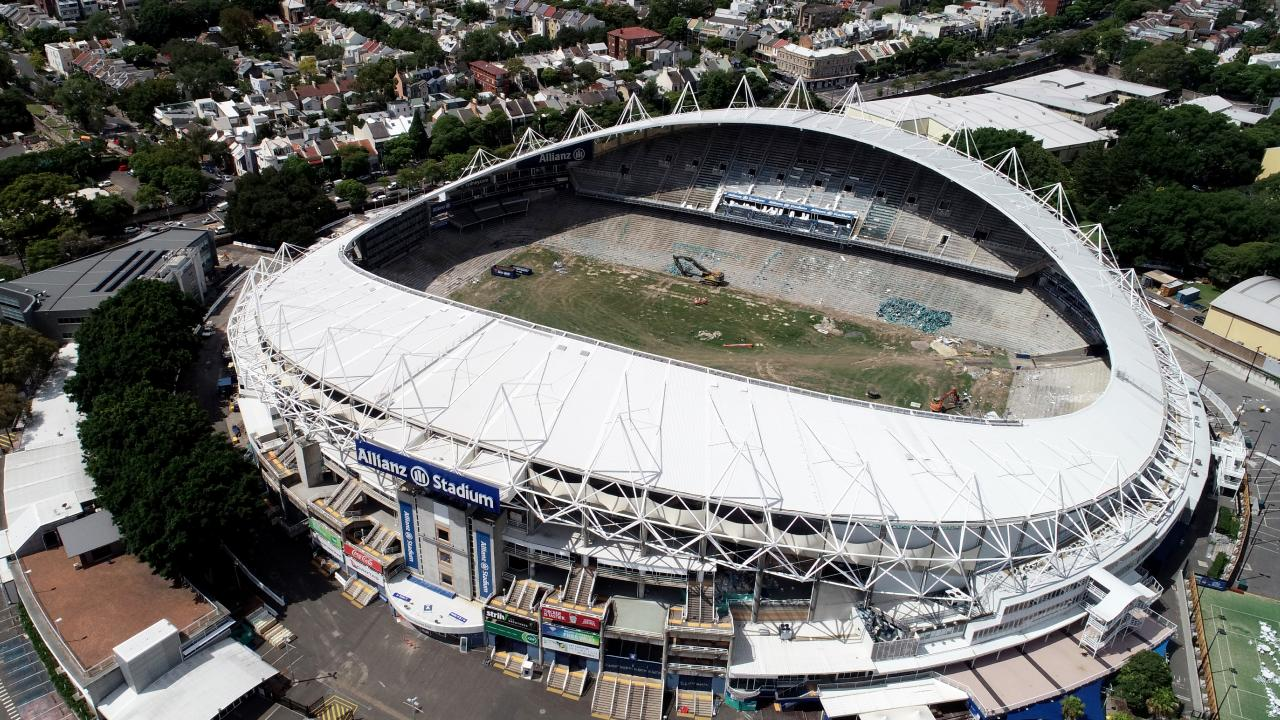 Work has stopped on the redevelopment of the Sydney Football Stadium. Picture: Jonathan Ng