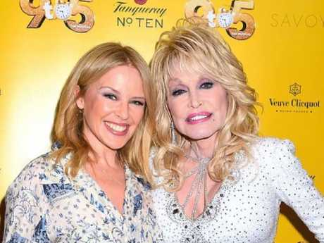 Dolly Parton with Kylie Minogue last month in London. Picture: Instagram