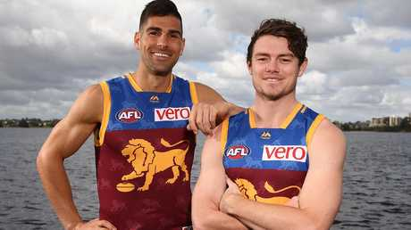 Adams and Lachie Neale joined Brisbane during the trade period at the end of last year. Picture: Getty