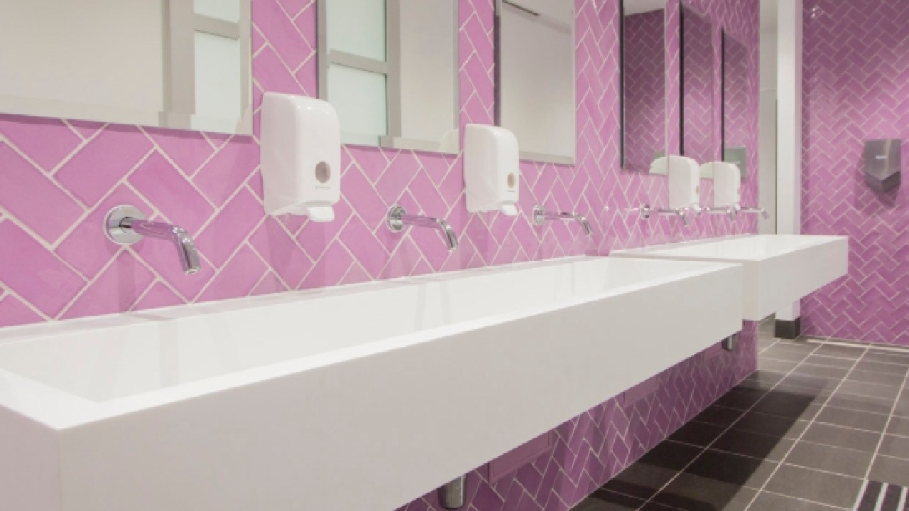 Monte Sant'Angelo Mercy College in North Sydney has a mix of bright bathrooms.
