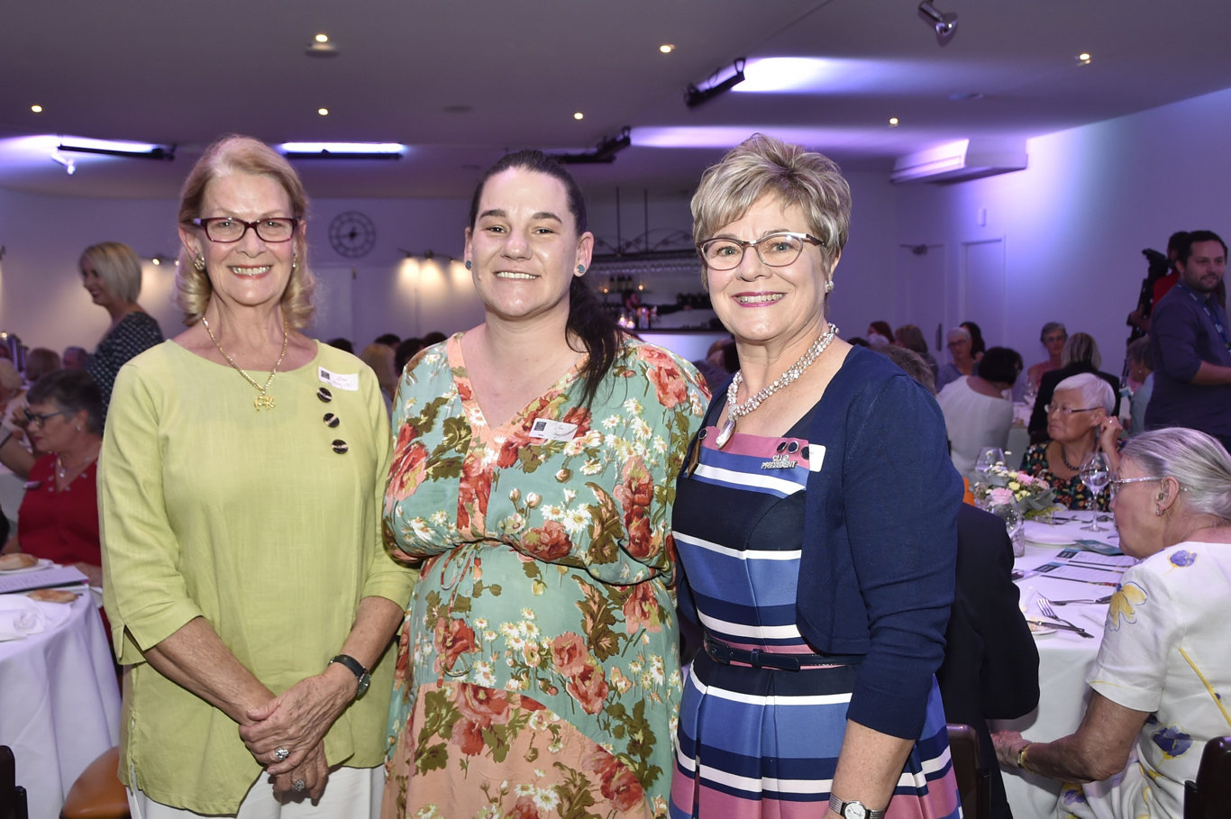 Guest speaker, Dina Browne (left) with the Zonta woman of the year, Jen Shaw, and president of the Zonta Club of Toowoomba, Kathryn Galea. International women's day Zonta lunch at Toowoomba Golf Club. March 2019