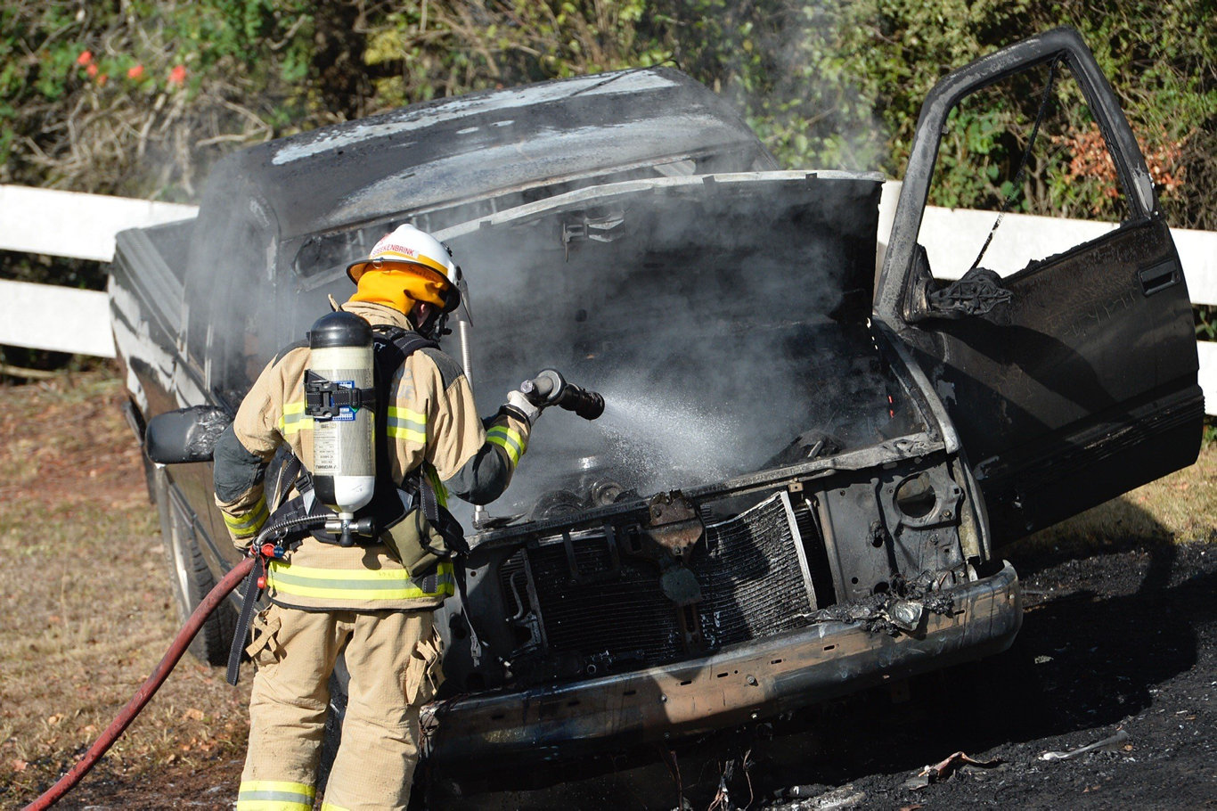 Terry Hill's Chevrolet ute caught fire on Murphy's Creek Rd.