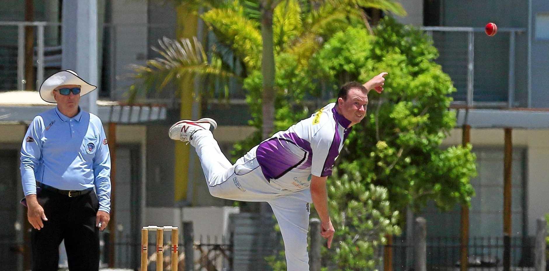 STRIKE: Pottsville all-rounder Jamie Bennett bowling against Lennox Head earlier this season.