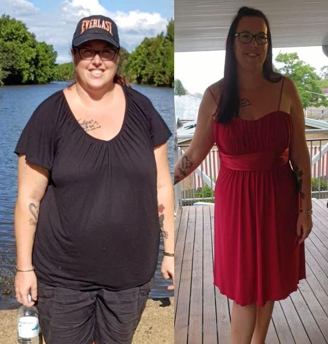 BIG ACHIEVEMENT: These two photos show Gympie woman Nicole Turner 11 months apart, after she lost 40kg.