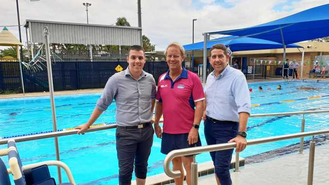 ROLL IN: Labor Candidate for Flynn, Zac Beers, Biloela Aquatic Centre Lessee Tony Gilligan and Queensland Minister for State Development, Manufacturing, Infrastructure and Planning Cameron Dick.