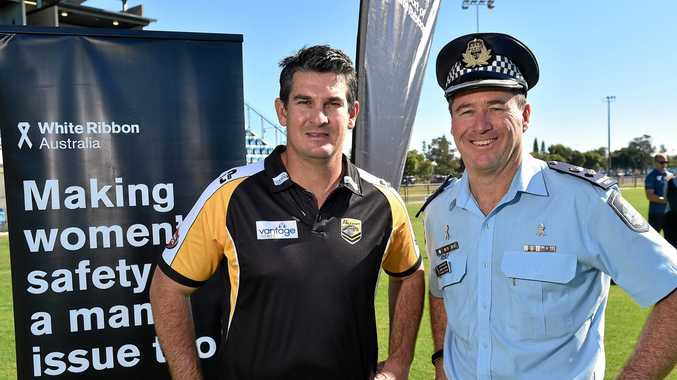 ZERO TOLERANCE: Sunshine Coast Falcons CEO and Former Origin Great Chris Flannery, left, with Sunshine Coast police Superintendent Darryl Johnson, says when it comes to domestic violence, players know there will be no leniency shown to them.