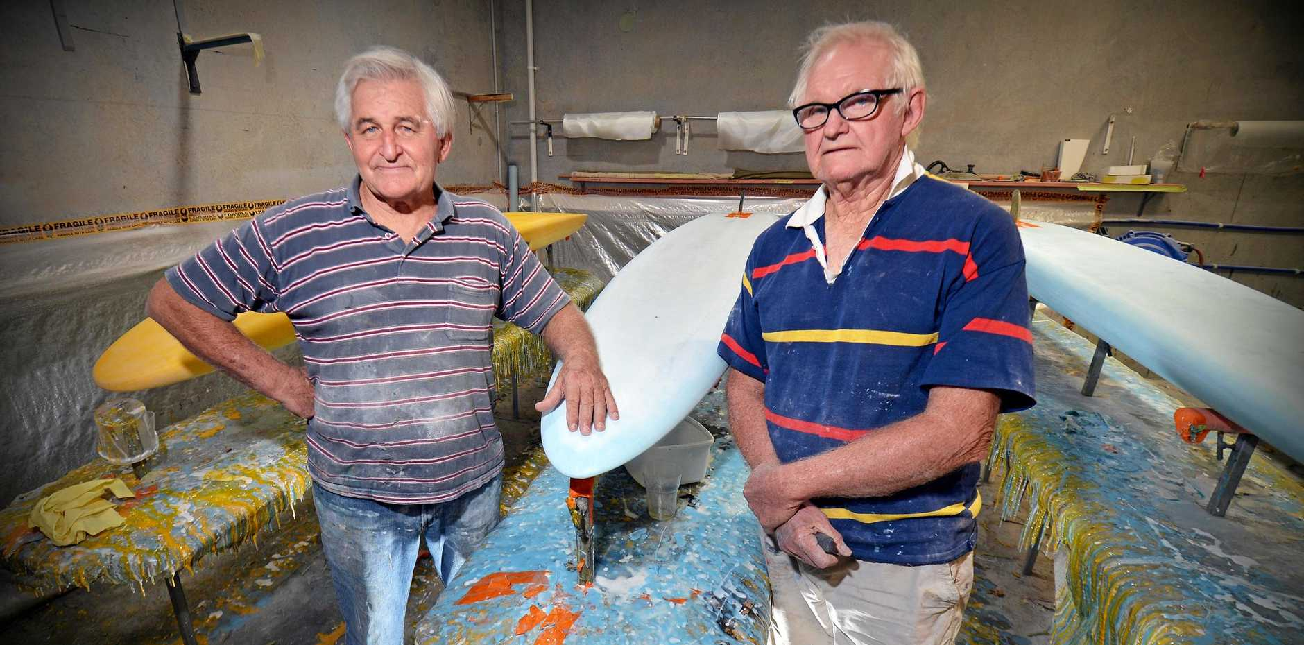 Mick Hopper and Graham Cook are the godfathers of surfboard shaping on the Sunshine Coast having been in the business since the 1960s.