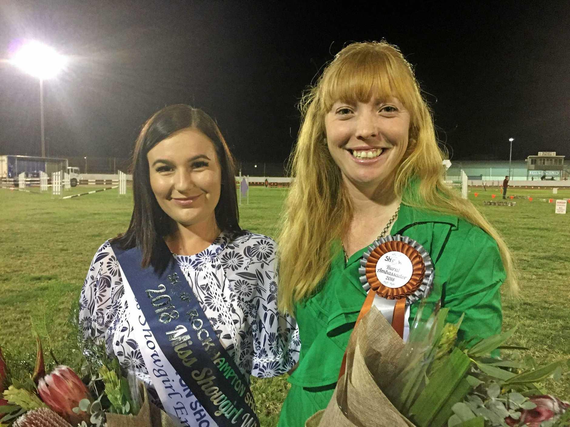 PASS IT ON: Rockhampton Show 2018 Miss Showgirl winner Jordan Stanley and Rural Ambassador Lauren Reabel.