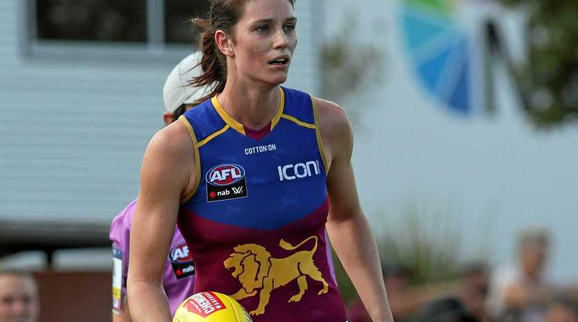 NEW HEIGHTS: Jessy Keeffe (in action against Geelong) has credited her AFLW Team of the Week nod to her training regimen and the connection she feels with her Brisbane Lions teammates.